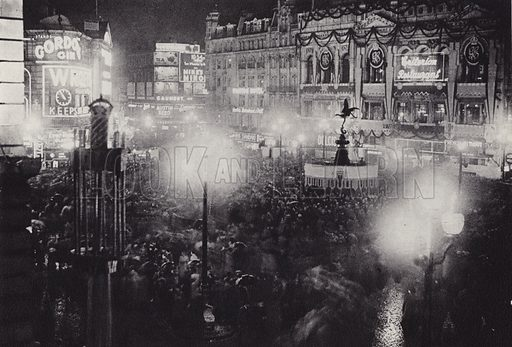 Piccadilly Circus on coronation night, 1937