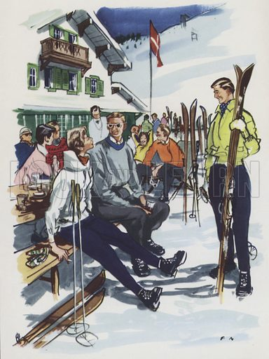 Winter sports. Illustration for The Social Roundabout, written for Moss Bros by Eric Keown, c 1950.