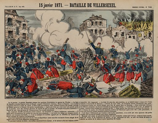 Battle of Villersexel, Franco-Prussian War, 15 January 1871. Print published by Pellerin & Cie, Imagerie D'Epinal, late 19th century.