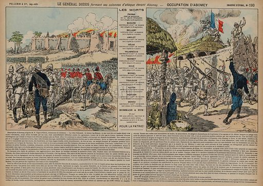 French troops commanded by General Alfred-Amedee Dodds attacking Abomey, Dahomey, Second Franco-Dahomean War, 1892. Print published by Pellerin & Cie, Imagerie D'Epinal, late 19th century.