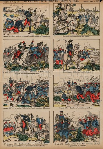 Battles of the Franco-Prussian War, 1870-1871. Print published by Pellerin & Cie, Imagerie D'Epinal, late 19th century.