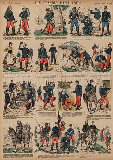 Annual grand manoeuvres of the French Army. Print published by Pellerin & Cie, Imagerie D'Epinal, late 19th century.