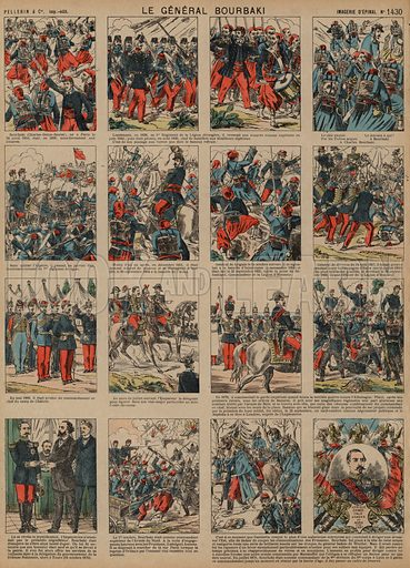 Career of French general Charles-Denis Bourbaki. Print published by Pellerin & Cie, Imagerie D'Epinal, late 19th century.