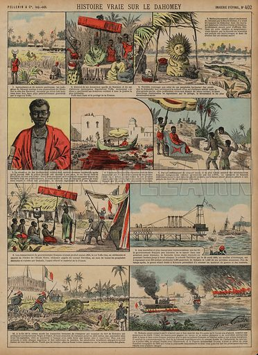 Franco-Dahomean Wars, 1890-1892. Print published by Pellerin & Cie, Imagerie D'Epinal, late 19th century.