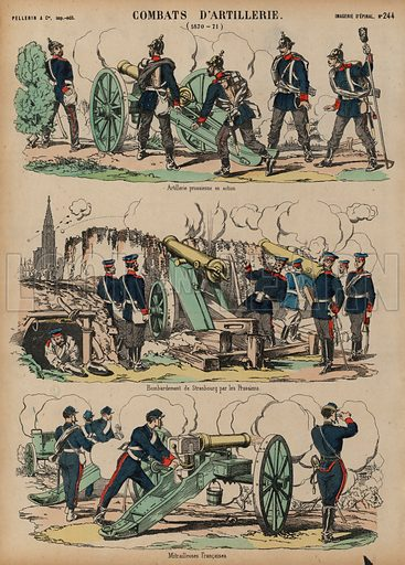 Artillery in action, Franco-Prussian War, 1870-1871. Print published by Pellerin & Cie, Imagerie D'Epinal, late 19th century.