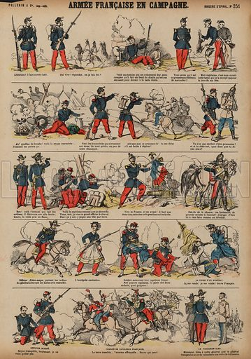 The French Army in the countryside. Print published by Pellerin & Cie, Imagerie D'Epinal, late 19th century.