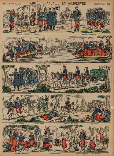 The French Army on manoeuvres. Print published by Pellerin & Cie, Imagerie D'Epinal, late 19th century.
