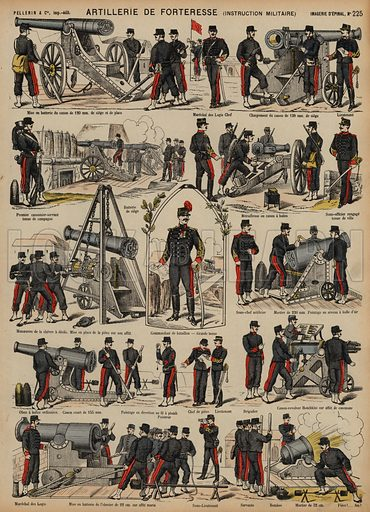 Fortress artillery of the French Army. Print published by Pellerin & Cie, Imagerie D'Epinal, late 19th century.