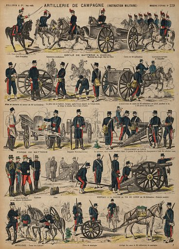 Field artillery of the French Army. Print published by Pellerin & Cie, Imagerie D'Epinal, late 19th century.