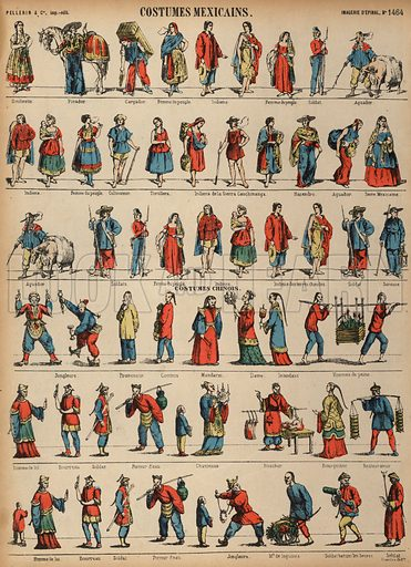 Costumes of Mexico and China. Print published by Pellerin & Cie, Imagerie D'Epinal, late 19th century.