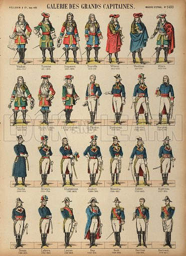 Great French military commanders. Print published by Pellerin & Cie, Imagerie D'Epinal, late 19th century.