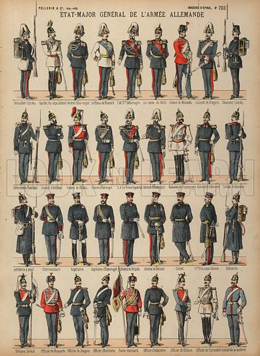 Uniforms of the German Army. Print published by Pellerin & Cie, Imagerie D'Epinal, late 19th century.