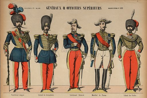 Generals and senior officers in the French Army. Print published by Pellerin & Cie, Imagerie D'Epinal, late 19th century.