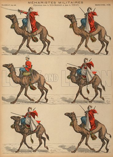 French Army Meharistes (camel cavalry) in Algeria. Print published by Pellerin & Cie, Imagerie D'Epinal, late 19th century.