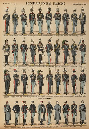 Uniforms of the Italian Army. Print published by Pellerin & Cie, Imagerie D'Epinal, late 19th century.