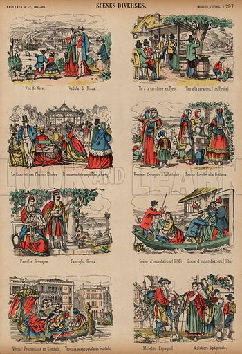 Scenes from various European locations. Print published by Pellerin & Cie, Imagerie D'Epinal, late 19th century.