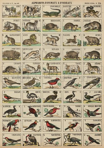 A to Z of animals and birds. Print published by Pellerin & Cie, Imagerie D'Epinal, late 19th century.