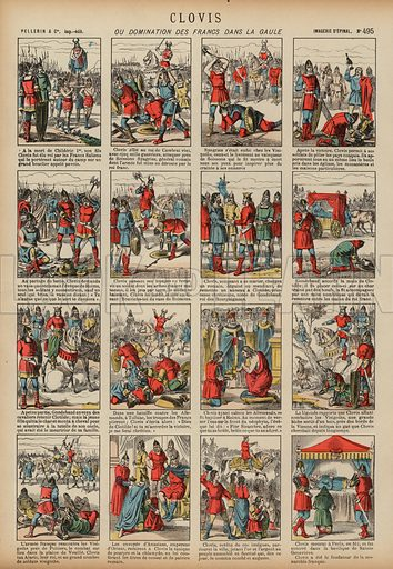 Clovis I and the domination of the Franks in Gaul. Print published by Pellerin & Cie, Imagerie D'Epinal, late 19th century.