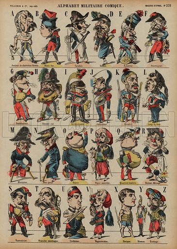 Comic military alphabet. Print published by Pellerin & Cie, Imagerie D'Epinal, late 19th century.