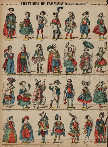 Children's carnival costumes. Print published by Pellerin & Cie, Imagerie D'Epinal, late 19th century.