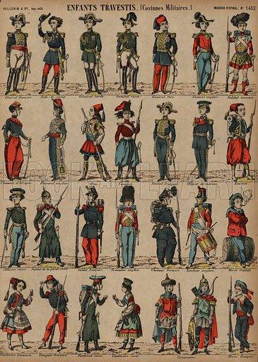 Children's military costumes. Print published by Pellerin & Cie, Imagerie D'Epinal, late 19th century.