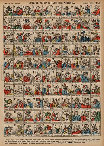 Alphabetical lottery of animals. Print published by Pellerin & Cie, Imagerie D'Epinal, late 19th century.