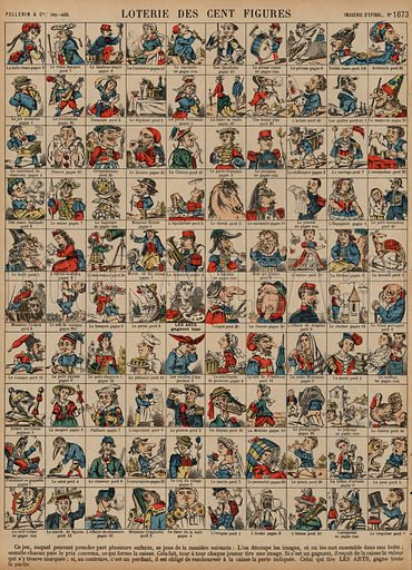 Lottery of a hundred figures. Print published by Pellerin & Cie, Imagerie D'Epinal, late 19th century.
