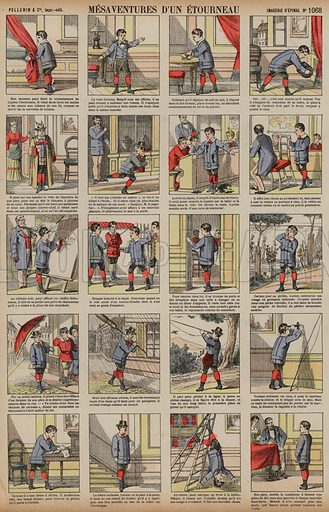 Misadventures of a starling. Print published by Pellerin & Cie, Imagerie D'Epinal, late 19th century.
