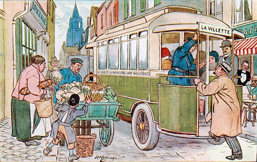 L'autobus (the bus). Illustration from Bell's New French Picture Cards (G Bell and Sons Ltd, London, c1930).