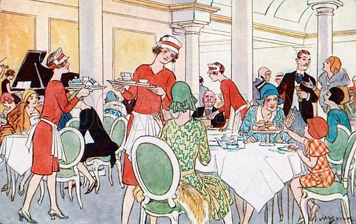 Le salon de the (the tearoom). Illustration from Bell's New French Picture Cards (G Bell and Sons Ltd, London, c1930).