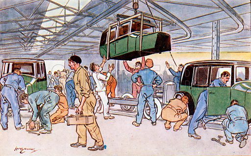 L'usine (the factory). Illustration from Bell's New French Picture Cards (G Bell and Sons Ltd, London, c1930).