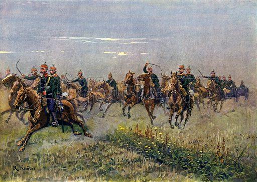 Saxon field artillery at the gallop. Illustration from Deutschland unter Waffen (Deutsche Verlags-Anstalt, Stuttgart and Berlin, 1913).