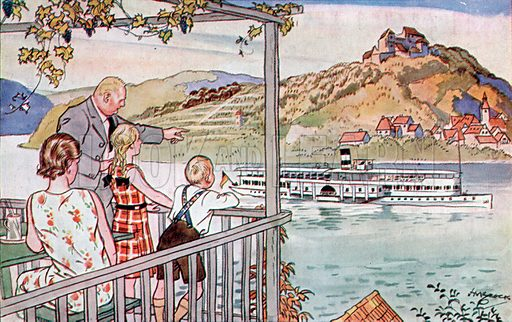 Am Rhein (on the Rhine). Illustration from Bell's German Picture Cards (G Bell and Sons Ltd, London, c1930).