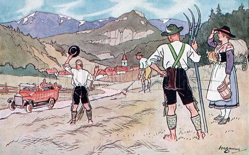 Heuernte im Tirol (hay harvest in the Tyrol). Illustration from Bell's German Picture Cards (G Bell and Sons Ltd, London, c1930).