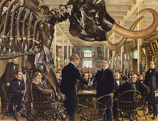 Founding of the American Medical Association at the Academy of Natural Sciences, Philadelphia, Pennsylvania, 1847. Illustration from A History of Medicine in Pictures (Parke, Davis & Company, Detroit, 1961).