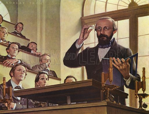 German physician and professor Rudolf Virchow, known as the 'father of modern pathology', giving a lecture at the University of Wurzburg, c1850. Illustration from A History of Medicine in Pictures (Parke, Davis & Company, Detroit, 1961).