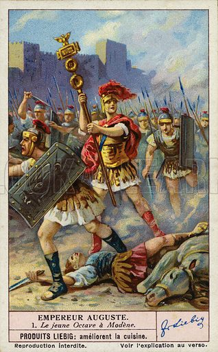 The young Octavian at the Battle of Mutina (Modena), 43 BC. Liebig card, early 20th century, from a series on the Roman Emperor Augustus.