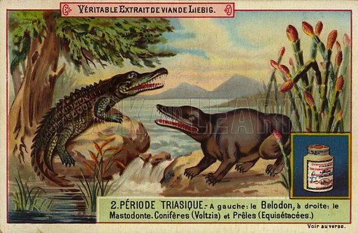 Dinosaurs and plants of the Triassic period. Liebig card, early 20th century, from a series on the prehistoric world.