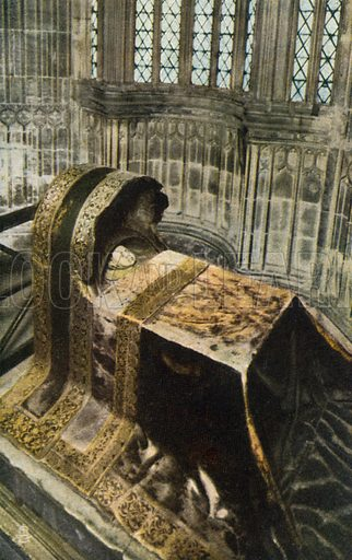 Tomb of Princess Sophia, infant daughter of King James I, Innocents' Corner, Westminster Abbey, London. Postcard, early 20th century.