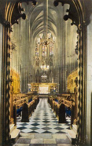 Choir from under the organ loft, Westminster Abbey, London. Postcard, early 20th century.