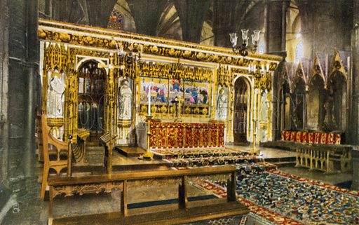 High Altar, Westminster Abbey, London. Postcard, early 20th century.
