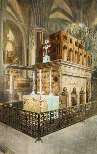Shrine of Edward the Confessor, Westminster Abbey, London. Postcard, early 20th century.