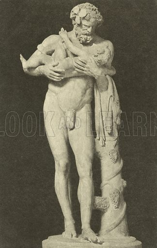 Silenus with the Child Dionysus, ancient Roman sculpture in the collection of the Glyptothek, Munich, Germany. Postcard, early 20th century.