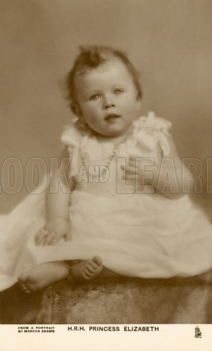 Queen Elizabeth II as a baby,1926. Postcard, early 20th century.