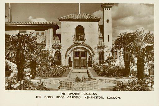 Spanish Gardens, Derry Roof Gardens, Kensington, London. Postcard, early 20th century.