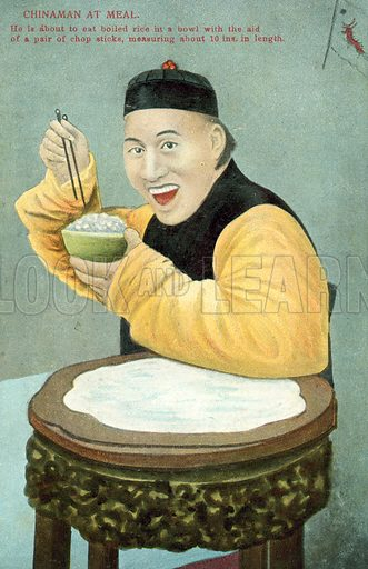 Chinese man using a pair of chopsticks to eat a bowl of rice. Postcard, early 20th century.