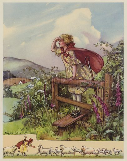 Little Bo Peep.  Illustration for The Margaret Tarrant Nursery Rhyme Book (Collins, 1944).