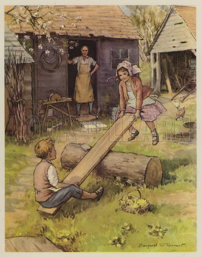 See-Saw Margery Daw.  Illustration for The Margaret Tarrant Nursery Rhyme Book (Collins, 1944).