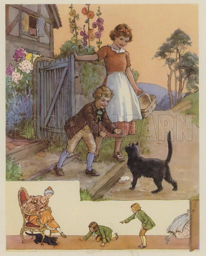 Pussy-Cat, Pussy-Cat.  Illustration for The Margaret Tarrant Nursery Rhyme Book (Collins, 1944).