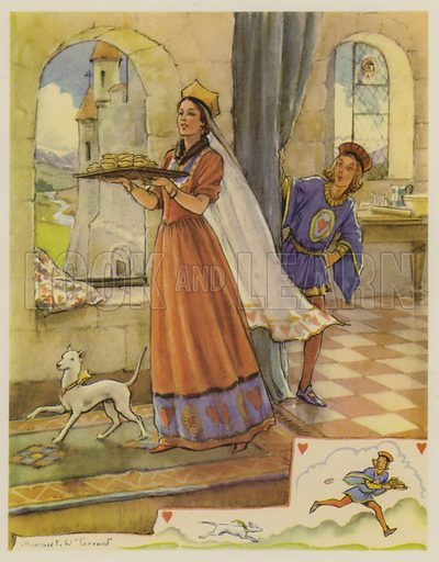The Queen of Hearts.  Illustration for The Margaret Tarrant Nursery Rhyme Book (Collins, 1944).